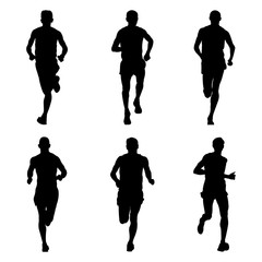 set of running marathon sports athletes black silhouette