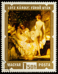 "Painting ""After the Bath"" by Karoly Lotz on postage stamp"