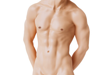 Nude man with six pack