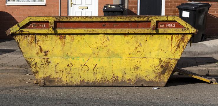 Large yellow dumpster