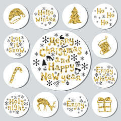 Christmas New Year golden gift round stickers. Labels xmas set. Hand drawn glitter decorative element. Collection of shiny holiday christmas stickers. Vector illustration. Lettering, calligraphy.