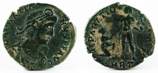 Ancient Roman copper coin of Gratian.