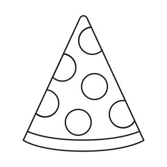 This is a black and white vector line drawing of a slice of pizza.