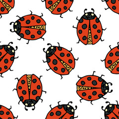 Ladybug seamless pattern. Vector illustration.