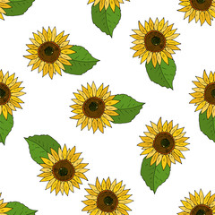 Seamless vector background with flowers of sunflowers