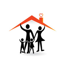 Family under roof house icon logo