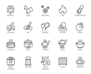 20 line icons for cooking theme. Big vector set of outline symbols isolated on white background. Kitchen accessories labels. Editable Stroke. 48x48 Pixel Perfect