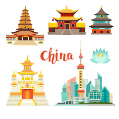 China landmarks vector icons collection. Chinese architecture. China landmarks: Shanghai cityscape, Chinese Temples and lotus