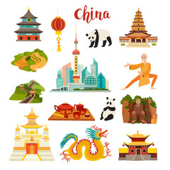 China landmarks vector icons set. Illustrated Shanghai cityscape Temple, chinese dragon, panda and Buddha, Shaolin and tea,isolated on white background