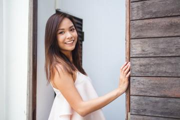 Pretty Asian Girl Walking In The Street