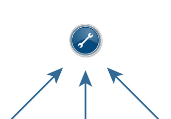 Pfeile zeigen auf Button - beidseitiger Schraubenschlüssel