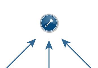 Pfeile zeigen auf Button - Werkzeug-Symbol