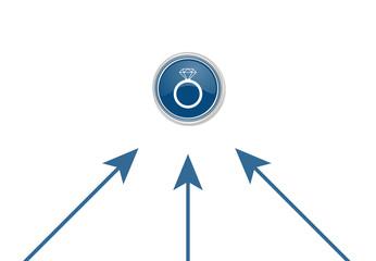 Pfeile zeigen auf Button - Diamantring