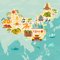 China illustrated map, hand drawn vector illustration for kid and children. Chinese travel landmarks/attraction