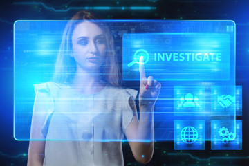 The concept of business, technology, the Internet and the network. A young entrepreneur working on a virtual screen of the future and sees the inscription: Investigate