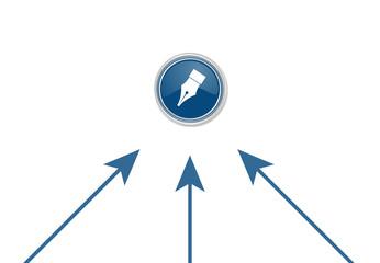 Pfeile zeigen auf Button - Federkiel