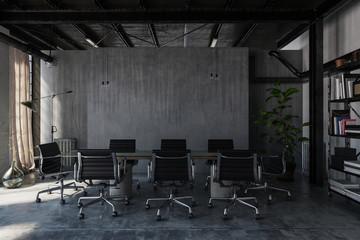 Rustikaler Besprechungszimmer / Konferenzzimmer in Beton Büro Loft
