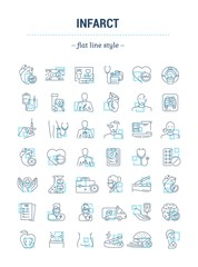 Vector graphic set.Isolated Icons in flat, contour, thin, minimal and linear design. Infarct. Cardiology.Problem, symptom, diagnostic, treatment.Concept illustration for Web site.Sign,symbol, element.