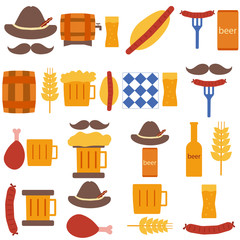 Octoberfest icons and patterns flat style. Vector illustration EPS10.