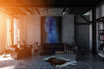 Rustikales Wohnzimmer in altem Fabrikloft