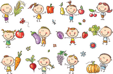 Wall Mural - Funny Sketchy Kids with Fruits and Vegetables will illustrate healthy eating or vegetarian food or just enter a kids art style design.