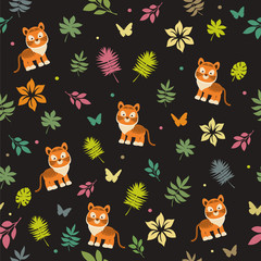 Seamless pattern with funny tiger cub