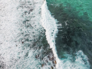 Looking down on beautiful rolling waves