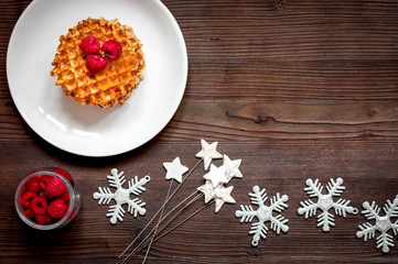 Christmas breakfast with waffles top view