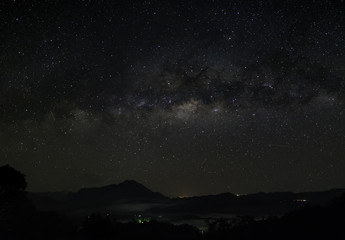 Milky Way seen over the top of Mount Kinabalu