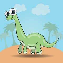 Funny cartoon style dinosaur vector illustration
