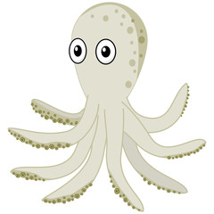 Cute cartoon sea octopus with eyes vector clipart