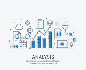 Modern thin line design for analysis website banner. Vector illustration concept for business analysis, market research, product testing, data analysis.