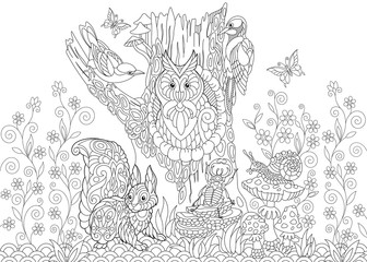 Coloring page of forest animals: owl, cuckoo bird, woodpecker, squirrel, snail, stag beetle, butterflies. Freehand sketch drawing for adult antistress coloring book in zentangle style.