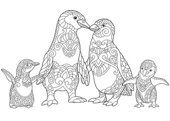 Coloring page of emperor penguins family, isolated on white background. Freehand sketch drawing for adult antistress coloring book in zentangle style.
