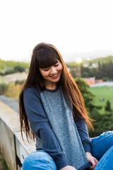 Portrait of a young beautiful eurasian woman in Barcelona