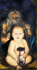 The old man and the child. Allegory of the time. Oil painting