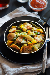 Fried potatoes with sausages and pepper
