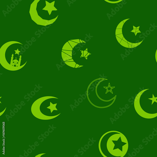 Seamless Pattern With Symbol Of Islam Crescent Moon For Your Design