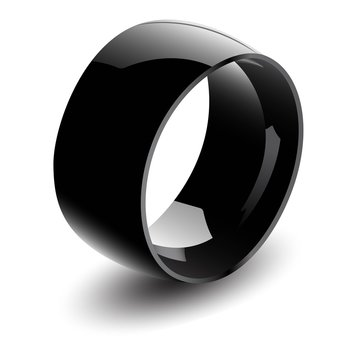 Black Glossy Steel Ring. Vector