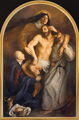 Fototapete - VIENNA, AUSTRIA - JULY 30, 2014: The symbolische painting of Deposition of the Cross with the carmelites sants St. Theresia and John of the Cross in church Karlskirche by by Clemens Fuchs (2014).