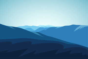 Mountain Landscape. Extreme Sports, Vacation and Outdoor Recreation. Vector illustration.