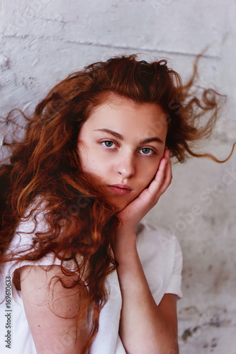 Model Tests Beautiful Redhead Girl With Curly Hair Natural