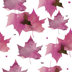 Watercolor illustration. Pattern of transparent pink maple leaves.