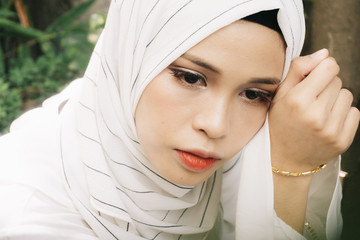 beautiful portrait of muslim young woman wearing hijab