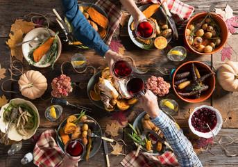 Toasting at Thanksgiving Dinner