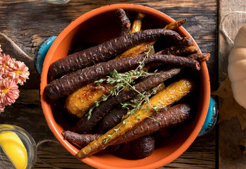 Rustic Thanksgiving Dinner: Heirloom Carrots