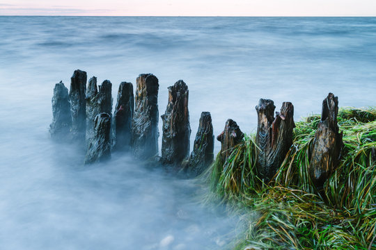 Long exposure landscape of old derelict jetty