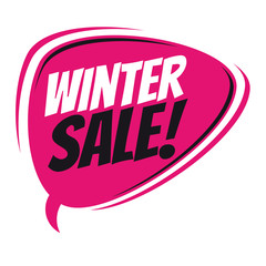 winter sale retro speech balloon