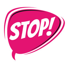stop retro speech balloon