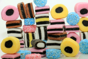 Stacked liquorice all sorts